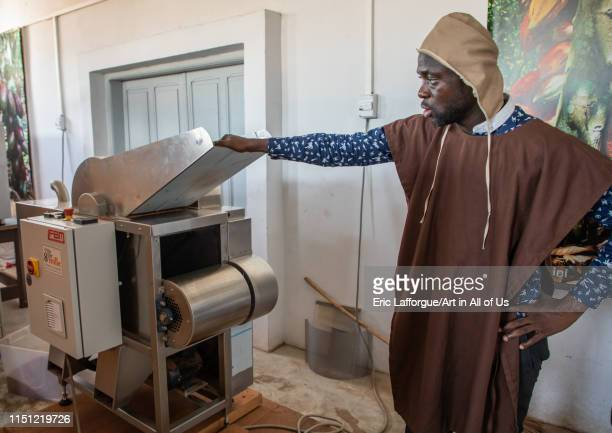 African man putting dried cocoa beans in a stone grinder SudComoé GrandBassam Ivory Coast on May 11 2019 in Grandbassam Ivory Coast