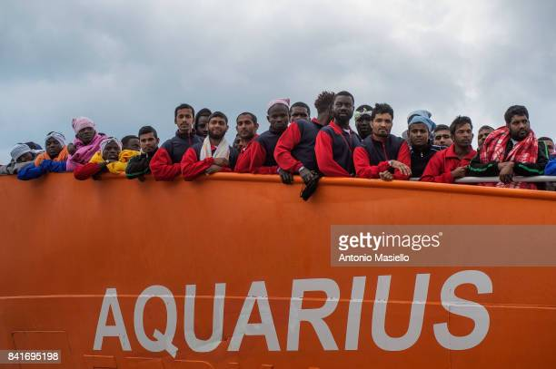 African migrants landing in the port of Salerno aboard the Aquarius ship of the Ngo SOS Mediterranee on May 26 2017 in Salerno Italy On board also...