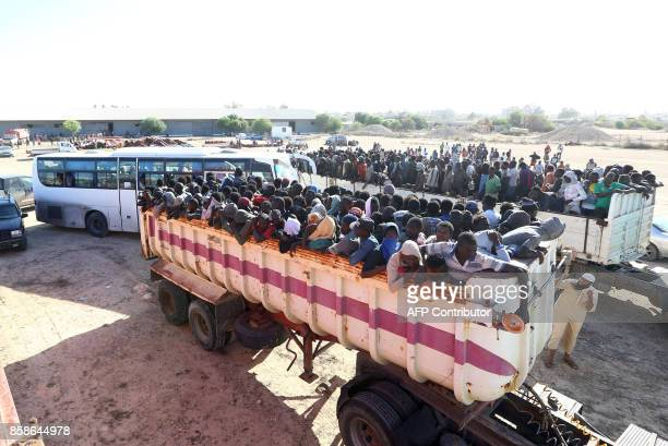 African migrants who were detained by UNbacked Government of National Accord during recent clashes in the city are gathered in a shelter in Sabratha...