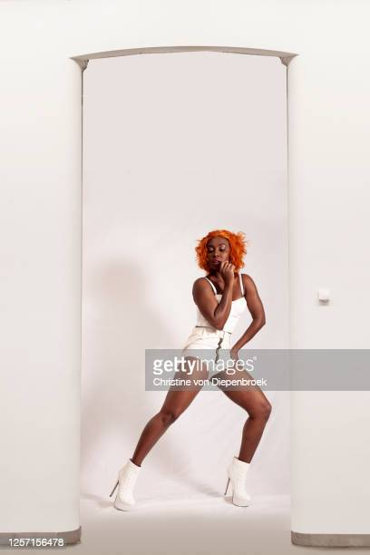 african model in modern white fashion sexy - fashion collection stock pictures, royalty-free photos & images