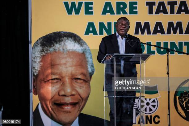 African National Congress leader Cyril Ramaphosa addresses a meeting of the ruling African National Congress party on its land expropriation policy...