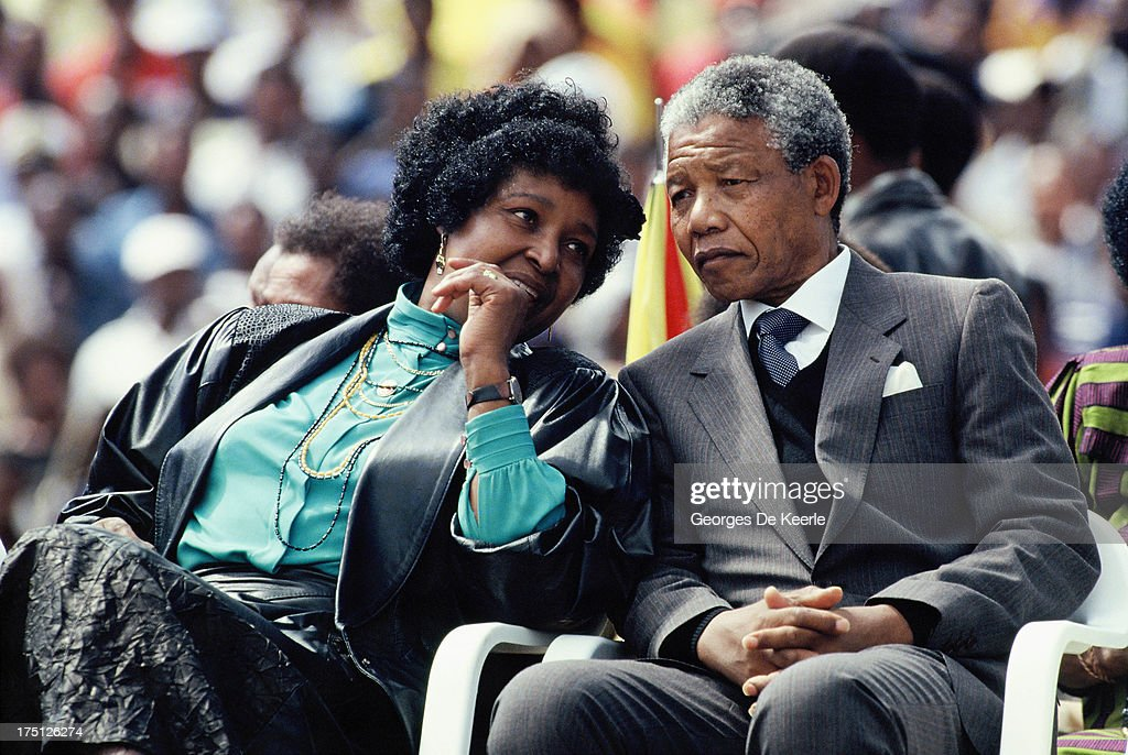 African National Congress (ANC) leader Nelson Mandela and his wife Winnie Mandela attend a rally in Soweto on February 13, 1990 in Johannesburg, South Africa.