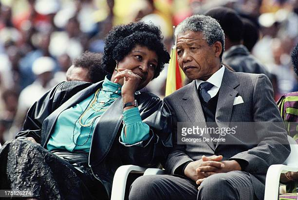 African National Congress leader Nelson Mandela and his wife Winnie Mandela attend a rally in Soweto on February 13 1990 in Johannesburg South Africa
