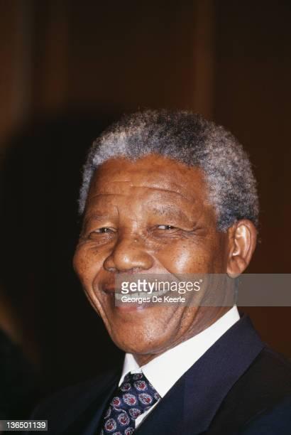 African National Congress leader Nelson Mandela at 10 Downing Street London 4th July 1990 Mandela is visiting British Prime Minister Margaret Thatcher