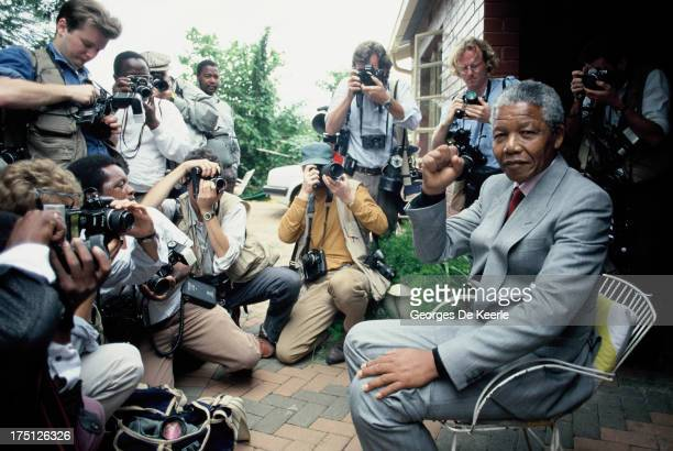 African National Congress leader Nelson Mandela at home in Soweto five days after his release from Victor Verster Prison in Paarl South Africa after...