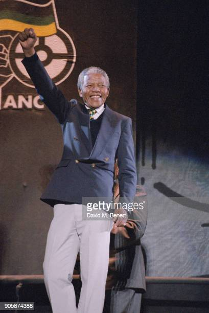 African National Congress Leader Nelson Mandela at Wembley in occasion of the 'Nelson Mandela An International Tribute for a Free South Africa'...