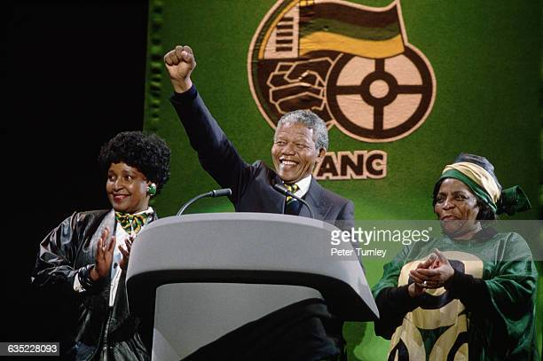 African National Congress Leader Nelson Mandela at Wembley with his wife Winnie and ANC activist Adelaide Tambo in occasion of the 'Nelson Mandela An...