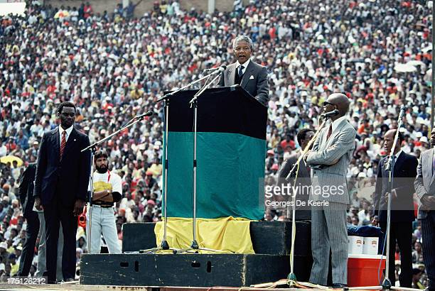 African National Congress leader Nelson Mandela holds a speech during a rally in Soweto on February 13 1990 in Johannesburg South Africa