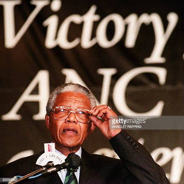 African National Congress leader Nelson Mandela makes a point during a celebration ceremony 02 May 1994 at the ANC campaign headquarters after the...