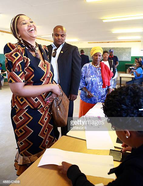 African National Congress leader's wife Ma Thobeka Madiba for the general elections at the Ntolwane Primary School in his rural village of Nkandla on...