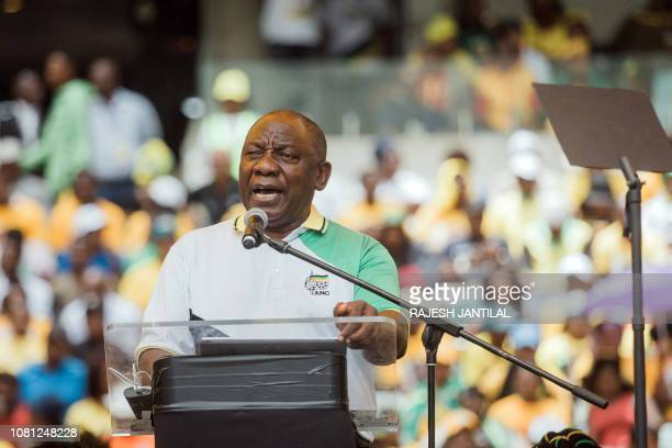 African National Congress President Cyril Ramaphosa adresses supporters during the African National Congress' 107th anniversary celebrations at the...