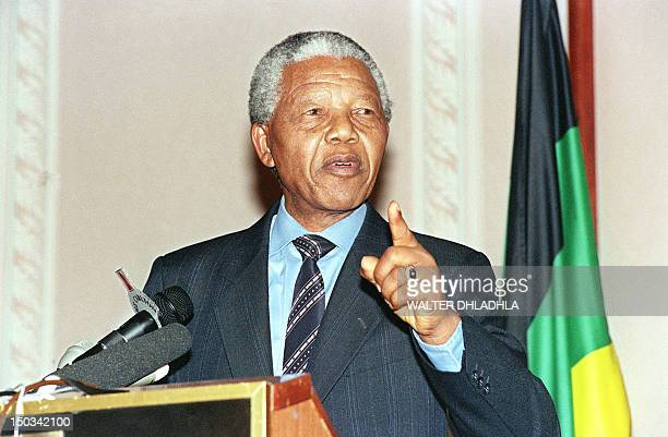 African National Congress president Nelson Mandela delivers a policy statement 08 January 1994 on the 82nd ANC Anniversary in Johannesburg South...