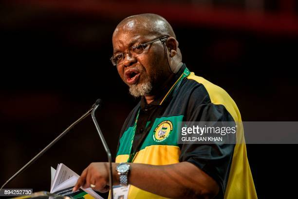 African National Congress 's outgoing Secretary General Gwede Mantashe speaks during a plenary meeting at the NASREC Expo Centre during the 54th ANC...