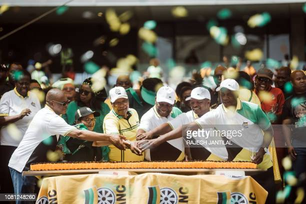 African National Congress Secretary General Ace Magashule Deputy Secretary Jessie Duarte former President Jacob Zuma South African President Cyril...