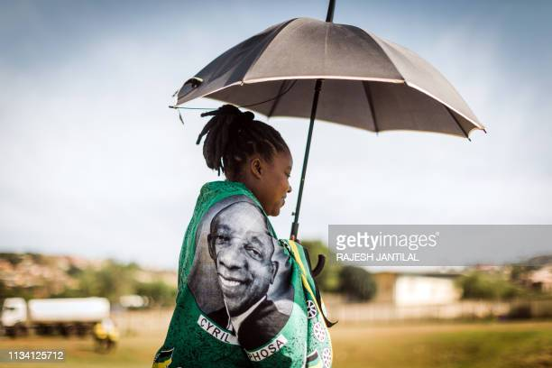African National Congress supporter arrives to attend a campaign rally of South African President, and president of the ruling party, at the...