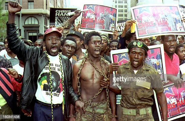 African National Congress supporters gather in central Johannesburg 17 April 1993 to march to police headquarters to protest against the...