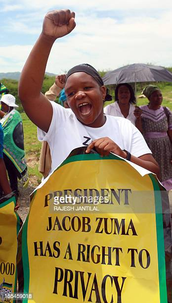 African National Congress supporters gather outside President Jacob Zuma's private rural residence preventing opposition leader Hellen Zille to visit...