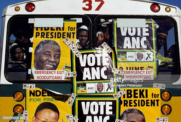 african national congress supporters in a bus during 1999 south african election campaign - 1999 stock pictures, royalty-free photos & images