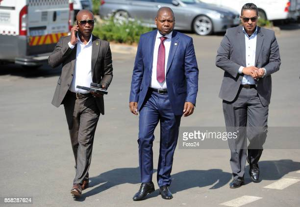 African National Congress TreasuryGeneral Dr Zweli Mkhize arrives the Joburg Indaba event at the Inanda Club on October 04 2017 in Johannesburg South...