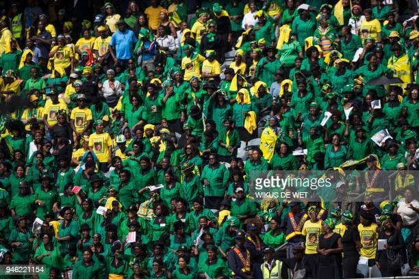 African National Congress Women's League members attend the funeral of anti-apartheid icon Winnie Madikizela-Mandela, at the Orlando Stadium in the...