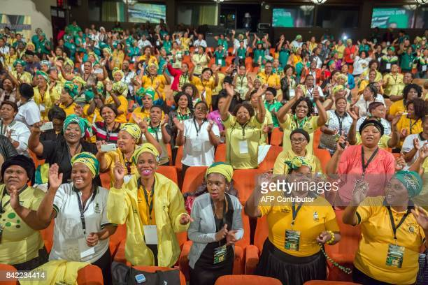 African National Womens League delegates chant in support of former African Union chair and current African National Congress front runner for ANC...