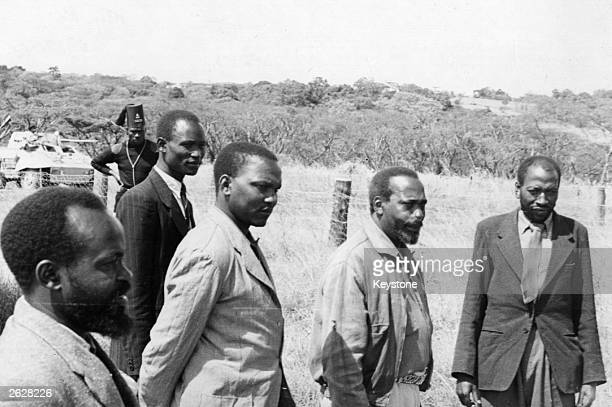 African nationalists and KAU officials who are accused of leading the Kenyan Mau Mau rebellion pictured during the Kapenguria trial left to right...