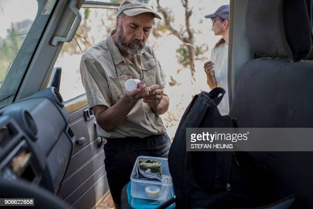 African Parks veterinarian Pete Morkel prepares his tranquillizing dart for the elephant collaring exercise at Pendjari National Park near Tanguieta...