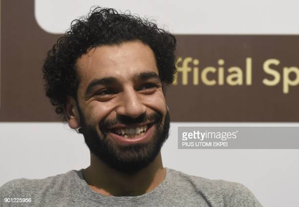 African Player of the Year Award nominee and Liverpool's Egyptian striker Mohamed Salah attends a media briefing on the Confederation of African...