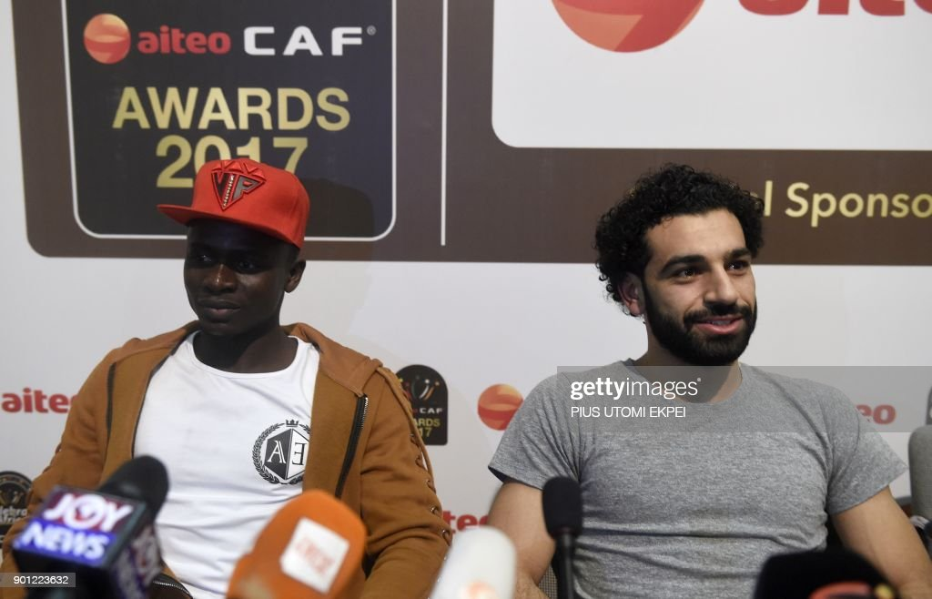 African Player of the Year Award nominees, Liverpool's Senegalese striker Sadio Mane (L) and Liverpool's Egyptian striker Mohamed Salah (R), attend a media briefing on the Confederation of African Football (CAF) awards ceremony at the International Conference Centre in Accra, on January 4, 2018. Liverpool star Mohamed Salah hopes to add the African Player of the Year award in Ghana on January 4 to his rapidly expanding collection of individual honours. The Egyptian, scorer of 23 goals in all competitions midway through his first season at Anfield, has been voted BBC African Footballer of the Year and Arab Player of the Year. EKPEI