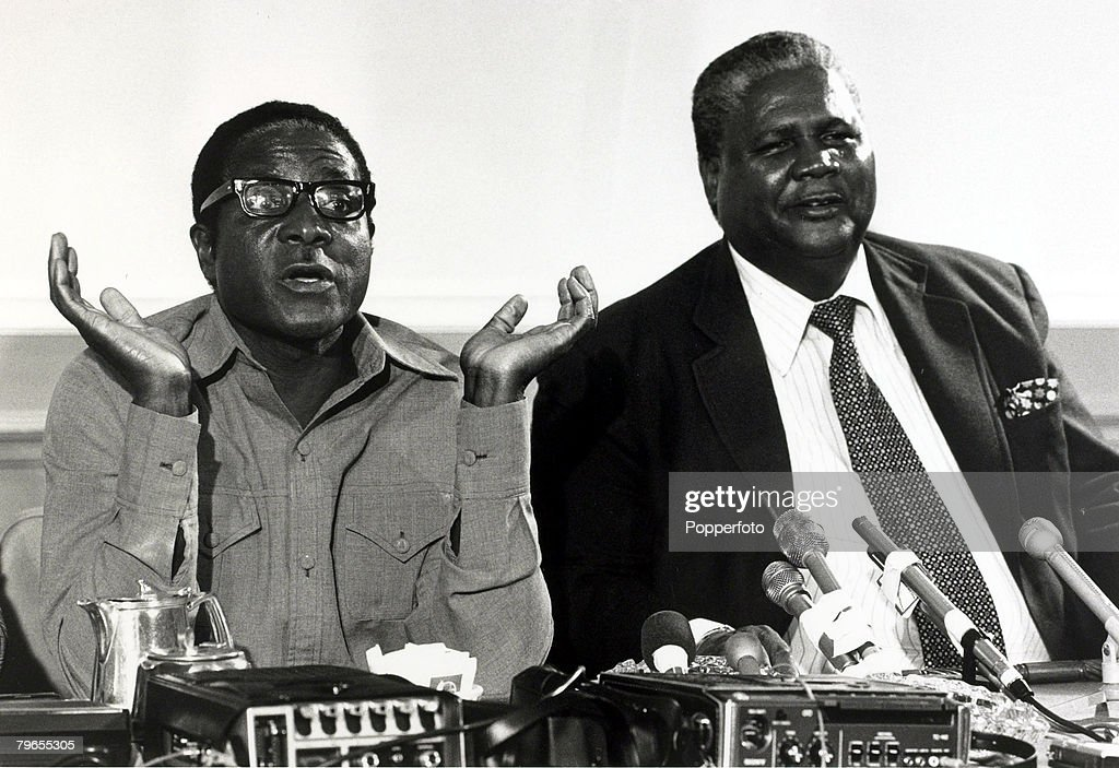 African Politics, pic: 14th March 1978, Robert Mugabe, left, and Joshua Nkomo pictured together during talks on Rhodesia, (Zimbabwe) at the Foreign Office in London : News Photo