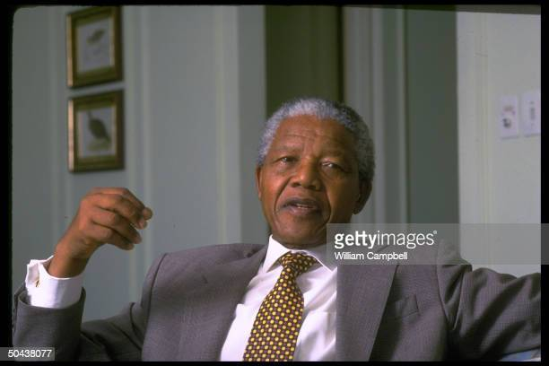 S African Pres Nelson Mandela during TIME interview
