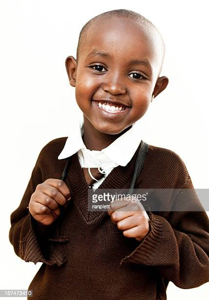 African School Boy Isolated on White Background