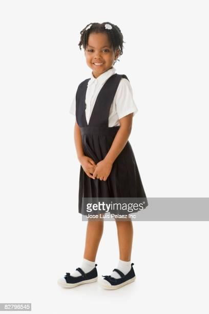 african school girl in uniform smiling - seulement des enfants photos et images de collection