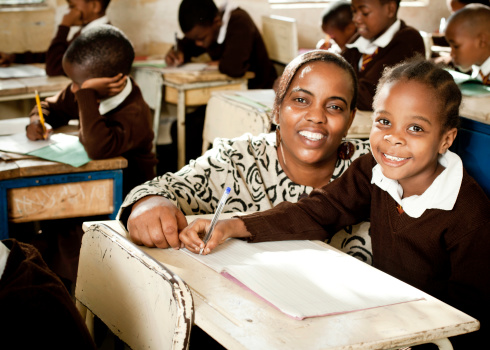 African Schoolgirl and her Teacher 109722088