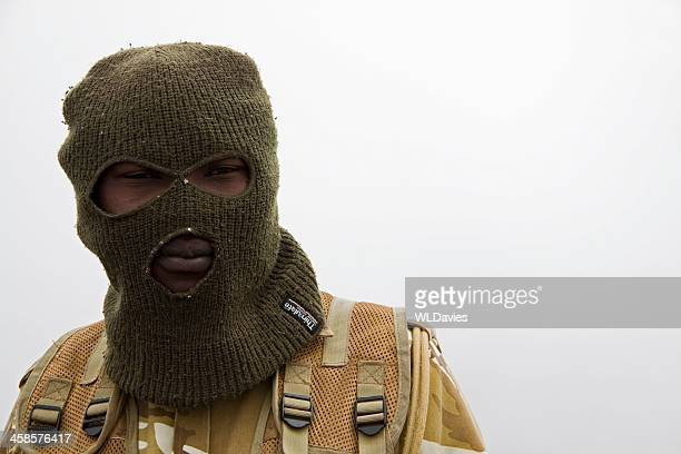 african soldier in balaclava - kenya army stock photos and pictures