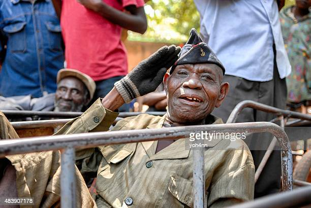 African soldier saluting