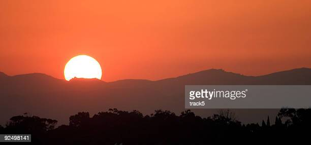 African sunset over the North African mountains of Tunisia