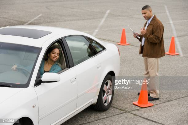 African teenager taking drivers test