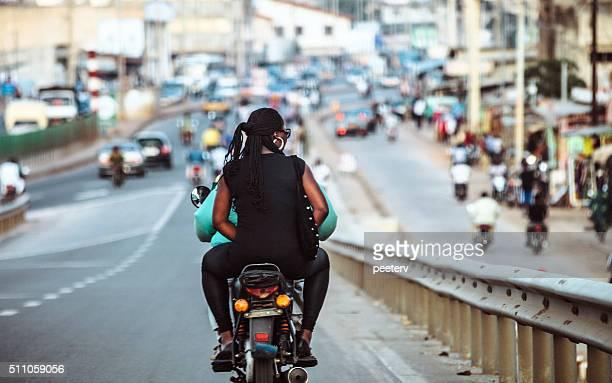 African town traffic. Cotonou, Benin.
