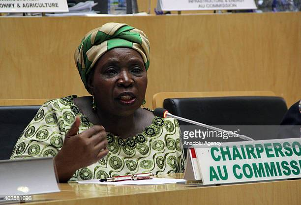 African Union Chairperson Nkosazana DlaminiZuma delivers a speech during a press conference as part of the 24th Summit of the African Union in Addis...