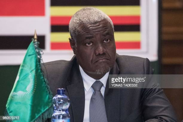African Union Commission Chairman Moussa Faki attends the 32nd Extraordinary Summit of Intergovernmental Authority on Development in Addis Ababa on...