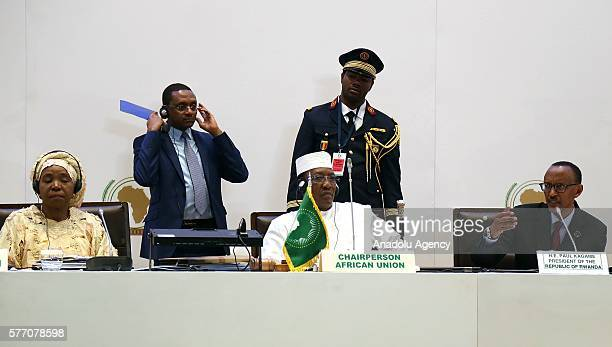 African Union Commission Nkosazana Dlamini Zuma President of Chad Idriss Deby and President of Rwanda Paul Kagame hold a joint press conference after...