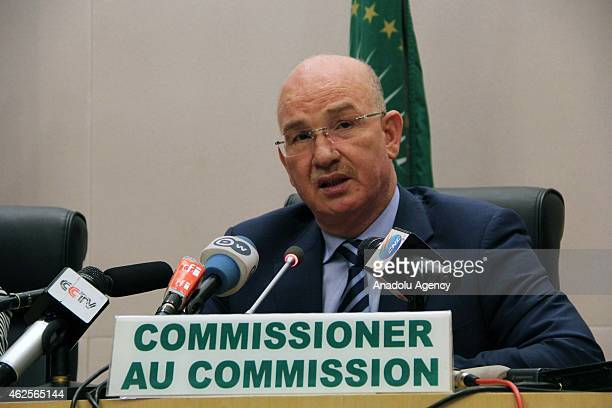 African Union Commissioner for Peace and Security Ismail Chergui delivers a speech during a press conference as part of the 24th Summit of the...