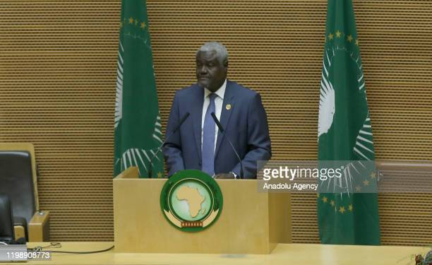 African Union Commissioner Moussa Faki Mahamat makes a speech during the 33th African Union Heads of State Summit at African Union headquarters in...