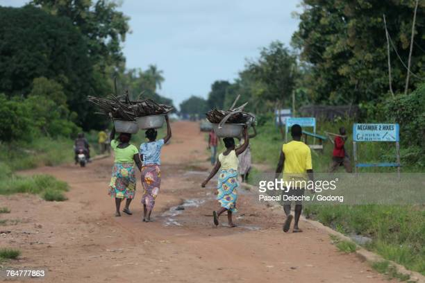 African village life. Wood chore. Togo.