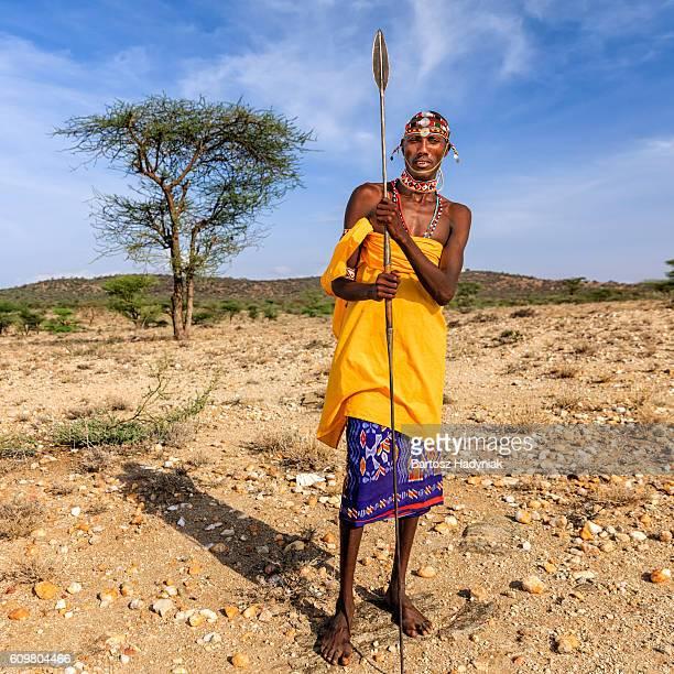 african warrior from samburu tribe, central kenya, east africa - guerrier massai photos et images de collection