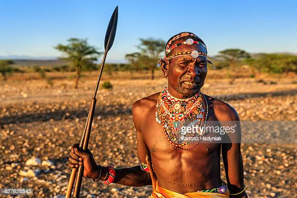 african warrior from samburu tribe, central kenya, east africa - warrior person stock photos and pictures