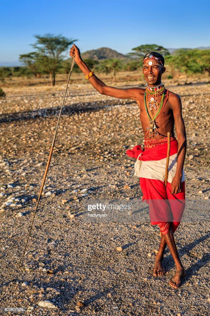African warrior from Samburu tribe, central Kenya, East Africa : Stock Photo