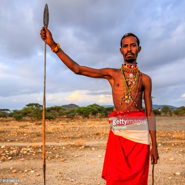 african warrior from samburu tribe, central kenya, east africa - spear stock photos and pictures