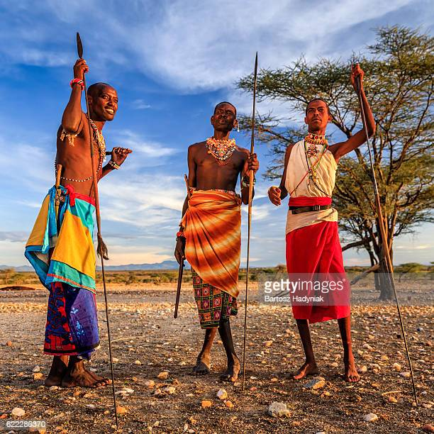 african warriors from samburu tribe, central kenya, east africa - masai fotografías e imágenes de stock